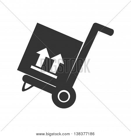 wheelbarrow with box in black and white colors, vector illustration graphic.