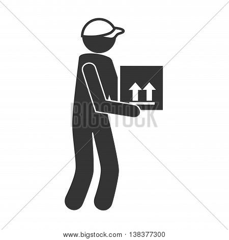courier with box in black and white colors, vector illustration graphic.