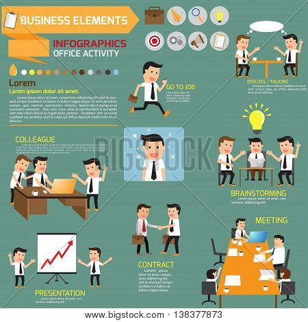 business Infographics. business in various pose of business concept. vector illustration.