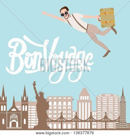 bon voyage man traveling flying bring luggage with city landscape in the background vector