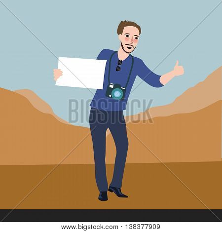 man traveling asking for a ride vector