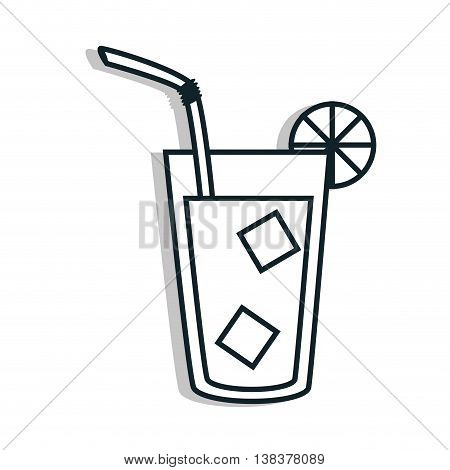 Delicious and refreshing limonade on glass with straw, vector illustration.