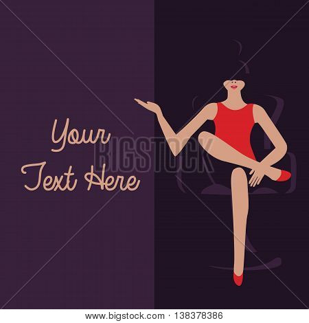 graphic template to put your text here girl sitting in the dark with red color dresses vector