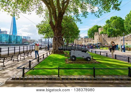 Exterior View Of The Tower Of London In London, Uk