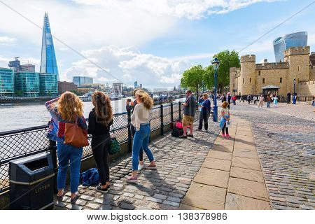 View Of The Thames With The Tower Of London And The Shard In London, Uk