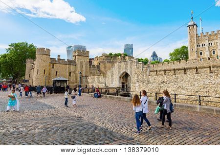 Detail Of The Tower Of London With The Gherkin In The Back In London, Uk