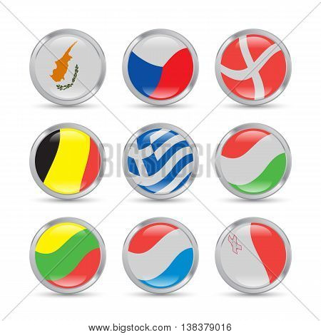 European flags icons set in metallic circles with reflections and shadows
