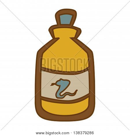 Medical snake poison bottle isolated flat icon, vector illustration graphic.