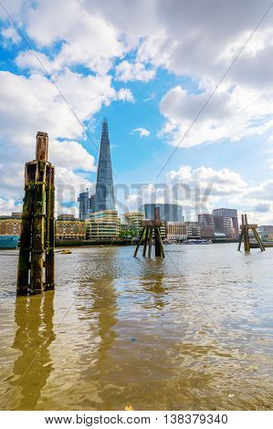 View Over River Thames To The Shard, London, Uk