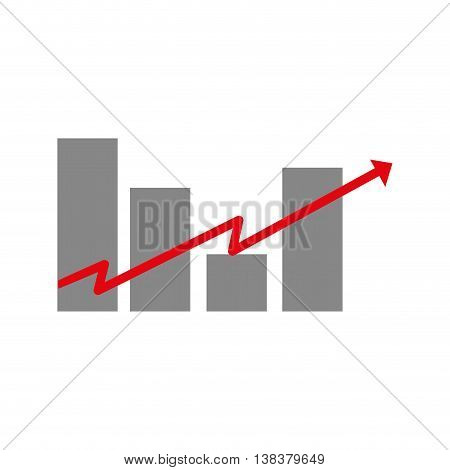 Financial growing statistics graphic isolated flat icon, vector illustration.