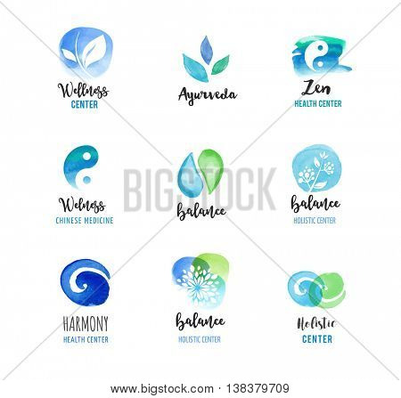 Alternative medicine and wellness, yoga concept - vector watercolor icons