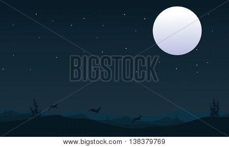 Christmas deer at night scenery of silhouette vector cartoon