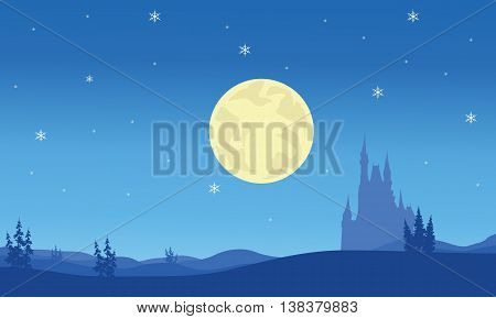 Scenery at night Christmas on blue backgrounds