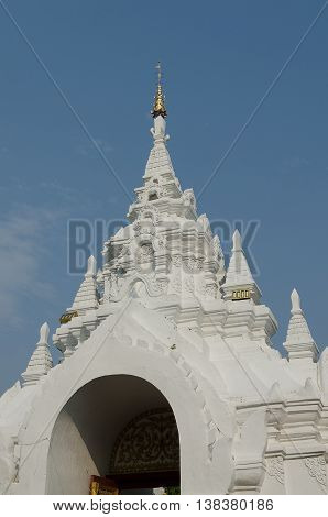 Haripunchai Temple,  architecture, Beautiful sky in Lampoon Thailand.