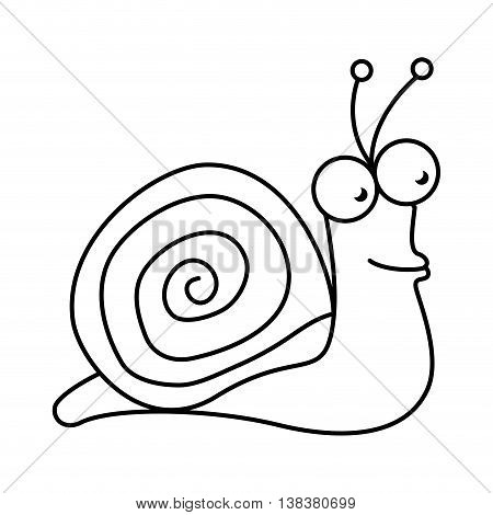 Snail cute pet graphic design, vector illustration isolated icon.