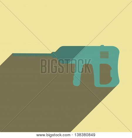 Flat icons with shadow of drill. Vector illustration