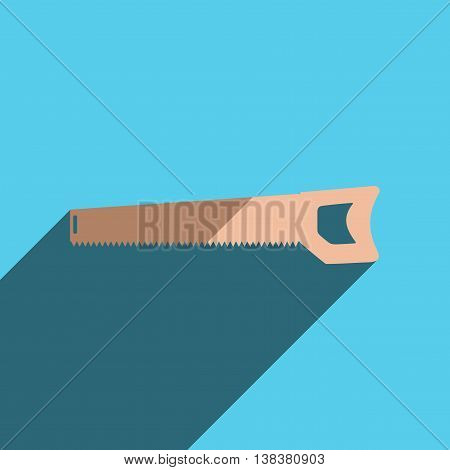 Flat icons with shadow of handsaw. Vector illustration