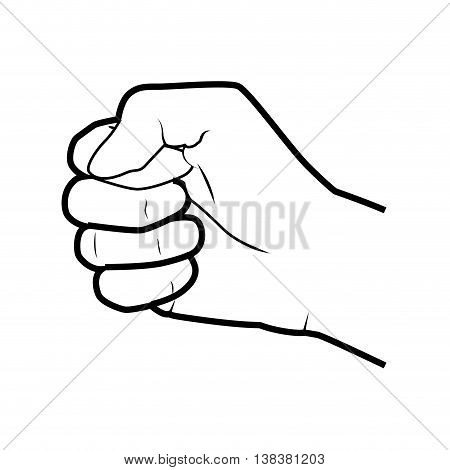Hand simbolizing a gesture, isolated flat icon vector illustration.