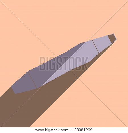 Flat icons with shadow of chisel. Vector illustration