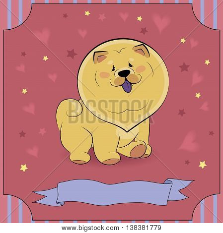 Happy Yellow Dog Chow. I am cute. Purple banner for custom text. Red background with stars and hearts. Illustration