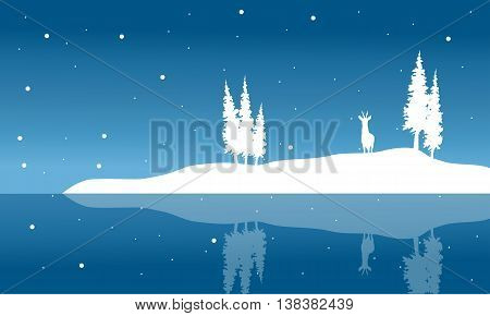 Silhouette of chrismas deer and spruce winter illustration