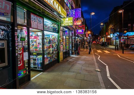 Brick Lane In The London District Shoreditch At Night