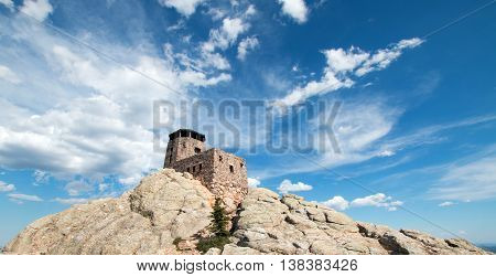 Harney Peak Fire Lookout Tower in Custer State Park in the Black Hills of South Dakota United States North America