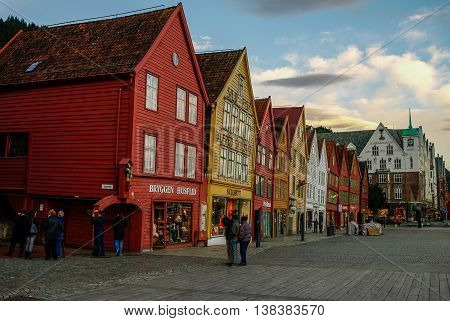 BERGEN, NORWAY - SEPTEMBER 18, 2011: The UNESCO World Heritage Site Bryggen in the city of Bergen. Bryggen is famous for its old wooden buildings.