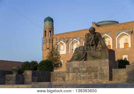 Khiva, Uzbekistan - 1 May, 2015: The monument to the ancient scientist - mathematician astronomer and geographer Muhammad ibn Musa al-Khwarizmi KhivaUzbekistan