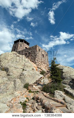 Harney Peak Fire Lookout Tower and stone staircase in Custer State Park in the Black Hills of South Dakota USA
