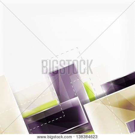 Colorful glossy arrow shapes. Abstract background. Vector web brochure, internet flyer, wallpaper or cover poster design. Geometric style, colorful realistic glossy arrow shapes with copyspace