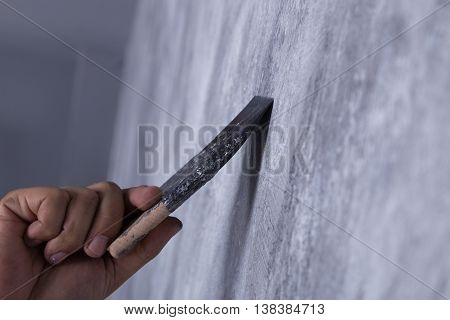 Worker Use Brush For Color Paint Concrete Loft Style On Wall