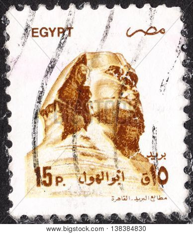 MOSCOW RUSSIA - JANUARY 2016: a post stamp printed in EGYPT shows Sphinx sculpture from Giza the series