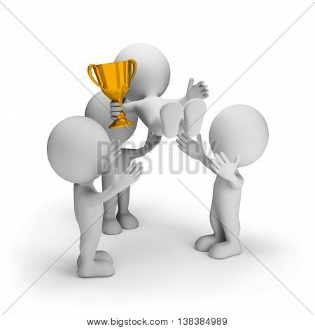 Friends congratulate the winner with the cup in his hand. 3d image. White background.