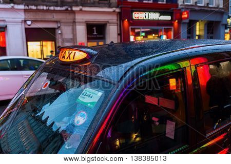 London Taxi In Motion Blur At Night