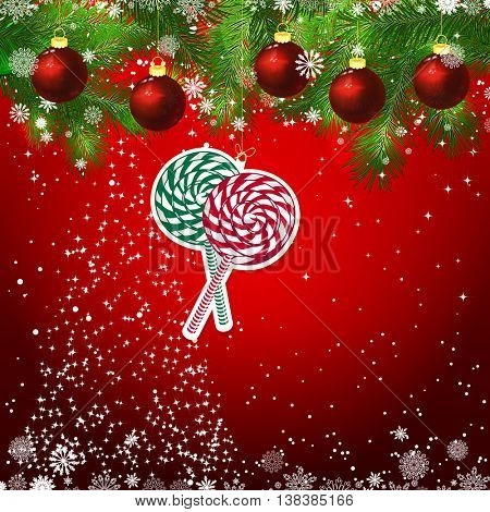 New Year design background. Template card whit red Christmas balls on the green branches . Silhouette of a Christmas tree made of stars. Falling snow. Toy decorative snowflake.