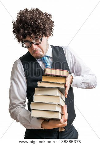 Crazy Nerd Student With Many Books Isolated On White Background.