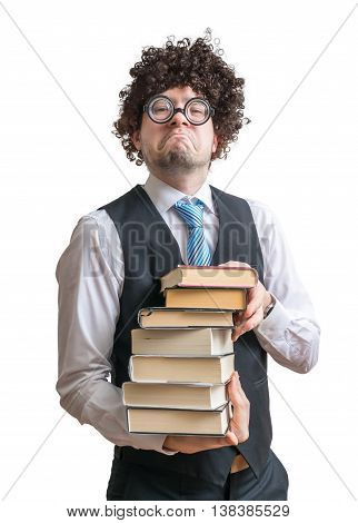 Nerd Man Holds Many Books In Hands. Isolated On White Background