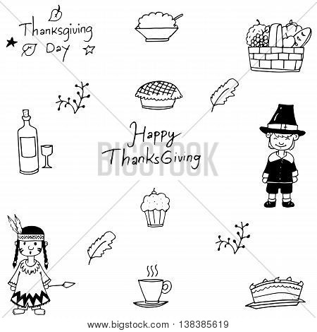 Hand draw doodle of Thanksgiving vector art