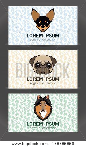 vector business card templates set of a small veterinary clinic dog breeder pet store