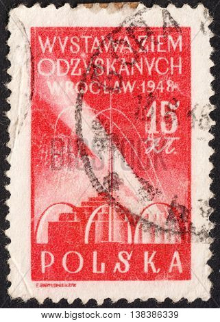 MOSCOW RUSSIA - JANUARY 2016: a post stamp printed in POLAND devoted to the Recovered Territory Exhibition the series circa 1948