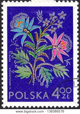 MOSCOW RUSSIA - CIRCA JANUARY 2016: a post stamp printed in POLAND shows an embroidery the series