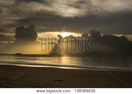 Sea Sunset At Thailand.