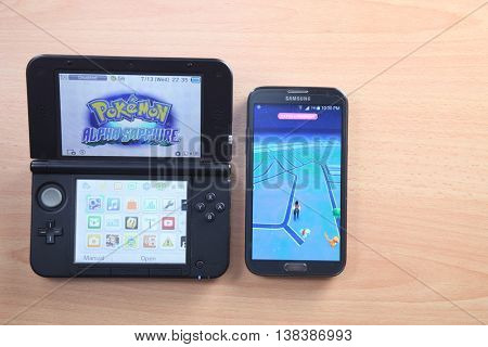 Kuala Lumpur,Malaysia 13th July 2016 , from pokemon nitendo 3ds to  Pokemon Go, a free-to-play augmented reality mobile game developed by Niantic for iOS and Android devices.