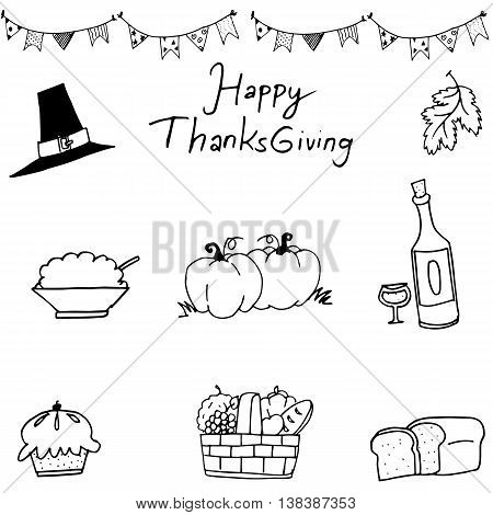Happy Thanksgiving element in doodle on white backgrounds
