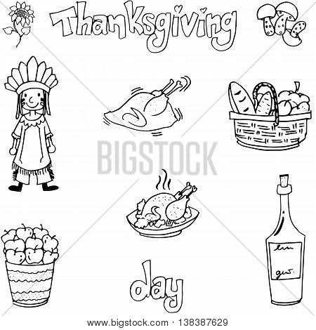 Thanksgiving with hand draw in doodle set vector art