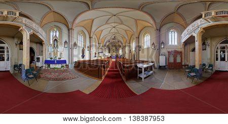 CLUJ-NAPOCA, ROMANIA - December 13: 360 panorama of the interior (nave) of Saint Peter's Church on December 13th, 2015, in Cluj-Napoca, Transylvania, Romania.