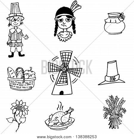 Thanksgiving object in doodle set vector art
