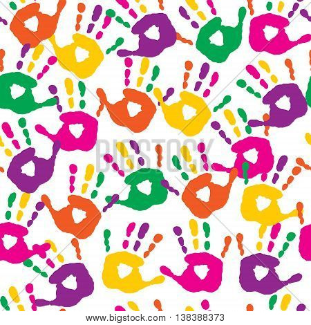 The decorative seamless pattern with a handprints