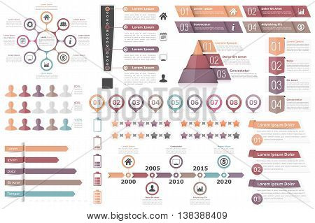 Infographic elements-circle diagram, text boxes with numbers and icons, pyramid chart, bar chart, timeline infographics and other infographic objects, business infographics, vector eps10 illustration